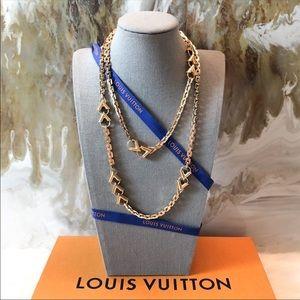 Louis Vuitton Gold Essential V Long Chain Necklace